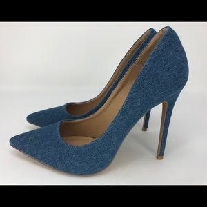 Shoe Republic LA 8.5 Blue Jean Denim Stiletto Heel